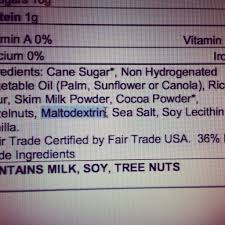 Maltodextrin ingredient label