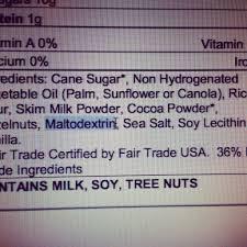 Maltodextrin ingredient label